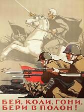 PROPAGANDA SOVIET ARMY BAYONETTE TANK HORSE 30X40CM FINE ART PRINT POSTER BB9241