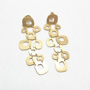 ROBERTO COIN Estate 18K Yellow Gold Stone Square Design Matte Dangle Earrings