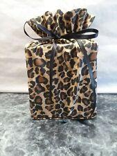 Leopard print, black & brown cotton Fabric square Tissue Box Cover handmade