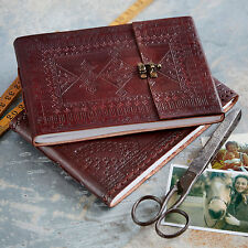 Indra Fair Trade Handmade Medium Embossed Leather Photo Album Scrapbook