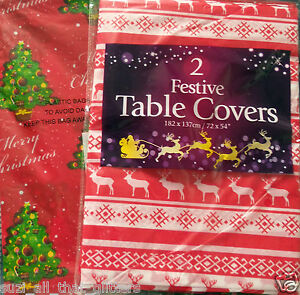 "2 PLASTIC FESTIVE WIPE CLEAN TABLE CLOTHS - TREE & REINDEER DESIGNED, 72"" x 54"""