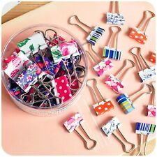 Printed Metal Binder Clips Paper Clip Clamp Office School Binding Clips Supplies