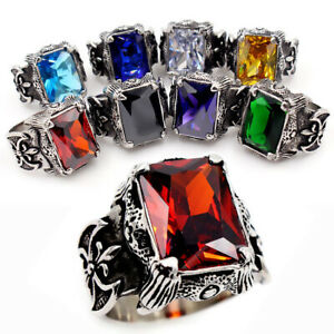 Men's Vintage Viking Warrior Ring Stainless Steel Dragon Claw Axe CZ Biker Ring