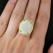 925 Sterling Silver Gold Plated Opal & CZ White Round Halo Cocktail Ring Women