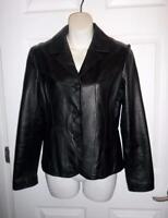 Wilsons Maxima Black 100% Genuine Leather Womans Jacket Blazer Size S Small