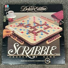 Scrabble Deluxe Edition Turntable Base Board Game MB 1989 Dark Wood Tiles