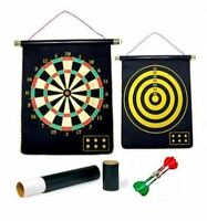 2 In 1 Children Kid Reversible Magnetic RollUp DartBoard 6 Magnet Darts Toy Game