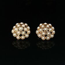 earrings Clip on Pliers Golden Studs Round Mini Pearl Class J8