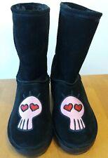 IIJIN Black Suede Pink Skull Mid Calf Boots Size 40