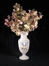 Bristol tipe Glass vase hand painted enamled flowers