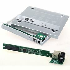 Silver USB 2.0 To IDE Laptop CD DVD RW Rom External Caddy Case Enclosure Cover