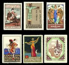 Spain Poster Stamps - 1929 Barcelona Exposition - Lot of 6 Different