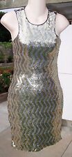 NWT BEBE 2-Tone Gold & Silver Allover Sequin Bling Dress S Small NEW