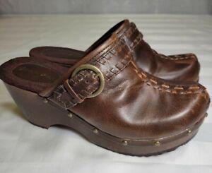 Fashion Bug Women's Clogs Platform Shoes 8.5M Wedge Mule Vintage Brown