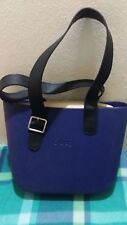 Borsa O Bag scocca blu, interno naturale, manici neri / usato come nuova