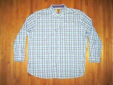Men's Big & Tall Foundry Blue/Green Plaid Long Sleeve Dress Shirt 4X-Tall New