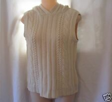 Banana Republic Sleeveless Hooded Sweater Iran Lambswool Cable Knit Women S