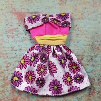 Barbie Doll Clothes Mini Dress Pink with Flowers Hearts Strapless Vintage 1990s