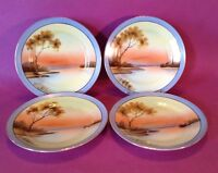 Noritake - 4 Gold Rimmed Hand Painted Tree In The Meadow Dessert Plates - Japan