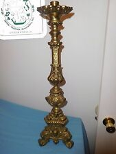 ANTIQUE RELIGIOUS BRASS CATHOLIC CHURCH JESUS MARY JOSEPH CANDLE STICK HOLDER