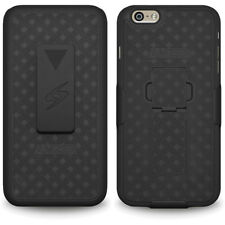 iPhone 6 Plus Shell Case Cover With Belt Clip Kick Stand Holster - Black