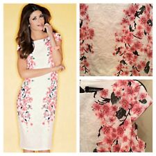 Kaleidoscope Size 14 Pink Ivory Textured Blossom Placement Print DRESS Party £85