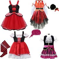 Child Girl Princess Halloween Costume Pirate Party Fancy Dress Up Cosplay Outfit