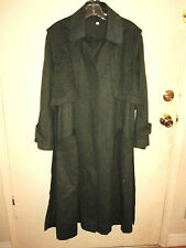 Fantastic Vintage Long Green Wool Coat Size 10 With removable cape
