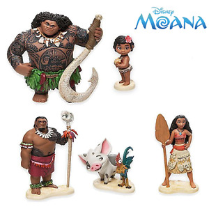 6x Disney Moana PVC Action Figures Cake Topper Decor Figurines Kid Play Set Toy