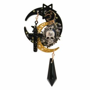 Gothic Lolita Girls Cross Pentacle Hair Clip Stars Moon Skull Costume Headwear