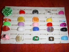 COOL/CHIC WHOLESALE VINTAGE COLLECTION 25 LUCITE RINGS FUNKY GROUP N MIXED SIZES