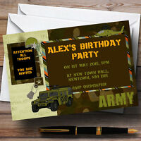 Army Soldier Camouflage Personalised Birthday Party Invitations - TH101