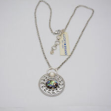 Lucky brand jewelry unique silver tone circle branch pendant covered shell paper