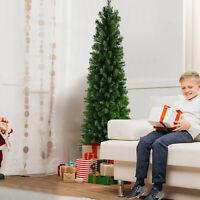 7.5' Pre-Lit Fiber Optic Artificial Christmas Tree Slim Green Trees Decorations