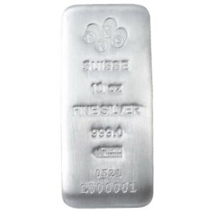 10 oz PAMP Suisse Silver Cast Bar .999 Fine Silver -Assay Card - IN STOCK