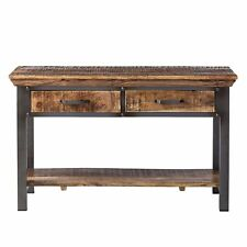 Solid Wood and Reclaimed Metal Console Table Dante Industrial Collection DA08