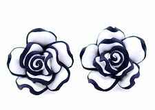 Lovely white and black resin rose flower stud earrings