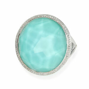 Ippolita Rock Candy Turquoise Diamond Lollipop Ring in Sterling Silver 0.23 CTW