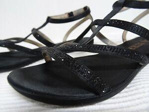 ✘ LUCA STEFANI ✘ DE 40 ✘ NEU Sandaletten schwarz Riemchen Glitzersteine ✘3193