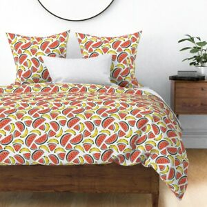 Watermelon + Banana Fruit Kitchen Home Summer Sateen Duvet Cover by Roostery