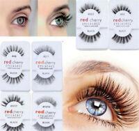 Lashes Red Cherry 100% False Human Hair Eyelashes Makeup Natural Eye Adhesives