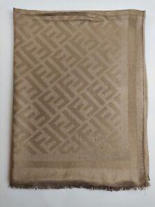 FENDI Genuine vintage Light Brown 100% wool Silk Effect Large wrap shawl scarve