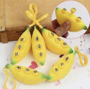 Banana Popper Anti-Anxiety Stress Toy Autism ADHD Fidget Squeeze Pop Keyring Pod