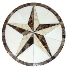 MARBLE FLOOR MEDALLION MOSAIC WHITE AND CREAM MARBLE 36 TEXAS STAR