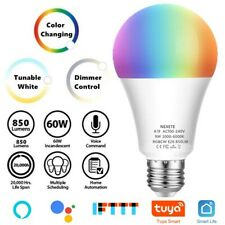 60W EQ A19 Dimmable Color Changing Smart Wi-Fi LED Light Bulb RGB+CW Alexa Googl