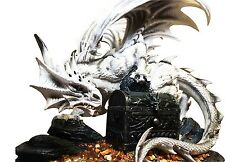 "Large 20"" White Cloud Dragon Conqueror Of Druid Treasure Statue With Jewelry Box"