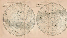 Antique map. STAR MAP. NORTHERN SKY. SOUTHERN SKY. EQUATORIAL ZONE. c 1909