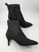 Primark size 5 (38) black faux suede side zip slim heel studded ankle boots