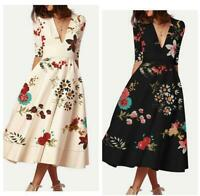 Womens Mid-long V-neck Sexy Elegant Printed Floral Ball Gown Half Sleeve Dress