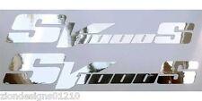 Sv 1000 S Plata Cromo Motocicleta gráficos Calcomanías Stickers X 2 Piezas
